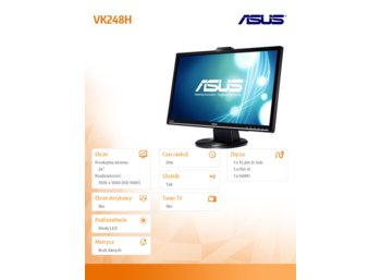 Asus 24'' VK248H LED wide 2ms HDMI Cam glosniki