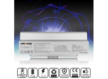 Whitenergy High Capacity bateria Sony BPS9 / BPL9 11.1V Li-Ion 6600mAh srebrna