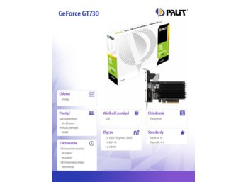 Palit GeForce CUDA GT730 1GB DDR3 PCI-E  64Bit DVI/HDMI/DSub BOX