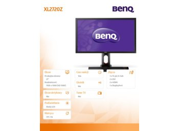 Benq 27'' XL2720Z  LED 4ms/MVA/20mln:1/HDMI/DVI