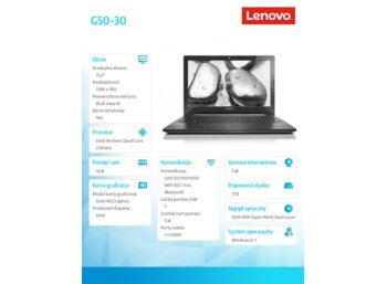 "Lenovo G50-30 80G0026XPB WIN8.1 MM N3540/4GB/1TB/INTEGRATED/15.6"" Black"
