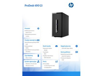 HP 490 G3 PD MT i5-6500 500/4GB/Win10 PC P5K15EA
