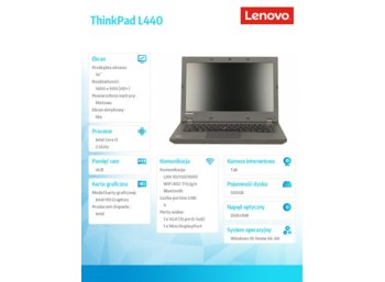 "Lenovo ThinkPad L440 20ASA26KPB Win10Home 64bit i3-4100M/4GB/500GB/HD4600/DVD Rambo/6c/14.0"" HD+ AG, WWAN Ready/1 Year Carry In"