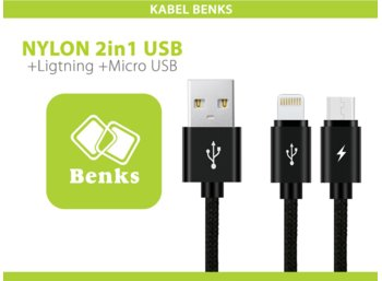 Benks Kabel 2w1 Nylonowy Micro USB + Lightning Black