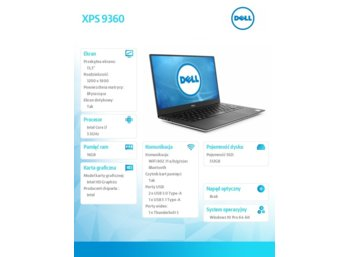 "Dell XPS 9360 Win10Pro i7-7500U/512GB/16GB/Integrated/13.3""QHD+/KB-Backlit/60WHR/Silver/2Y NBD"