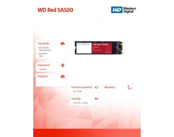 Western Digital Dysk SSD  Red 500GB M.2 2280 WDS500G1R0B