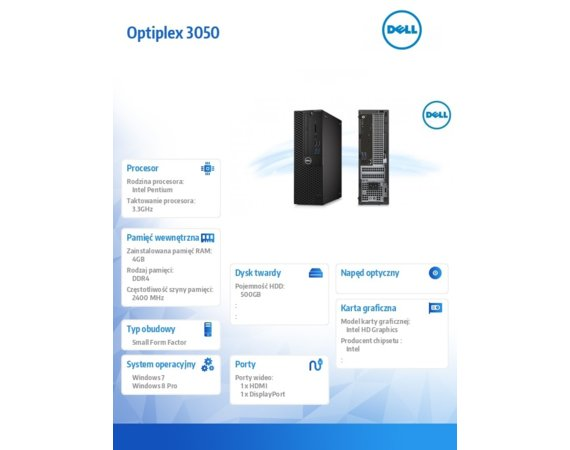 Dell Komputer poleasingowy OptiPlex 3050 Intel Pentium CPU G4400 3.30GHz  4GB  500GB Intel HD510 COA