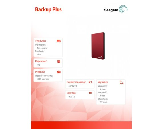 Seagate STDR1000203 1TB 2,5''USB3.0 Backup Red