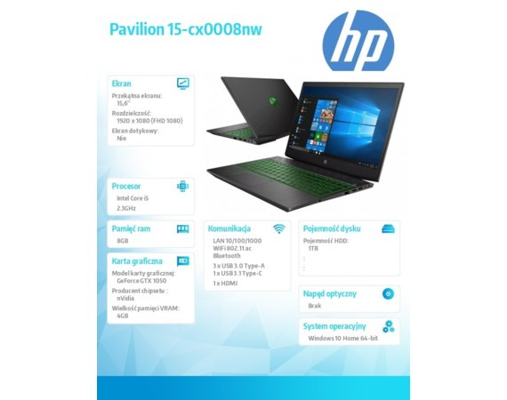 HP Inc. Notebook Pavilion 15-cx0008nw i5-8300H 1TB/8G/W10H/15,6/GTX 1050 4TY55EA