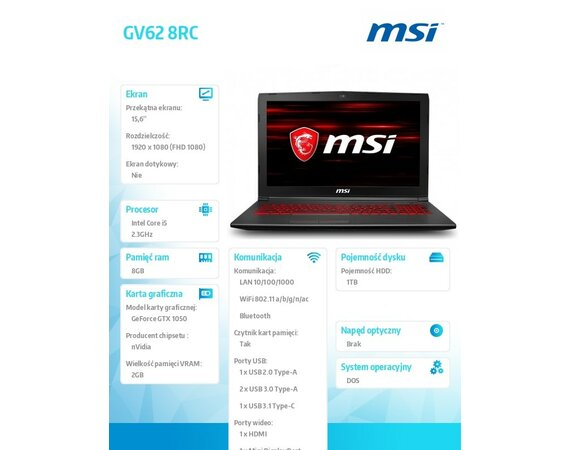 MSI Laptop GV62 8RC-017XPL DOS/i5-8300H/8GB/1T/GTX1050/15.6 FHD Anti-Glare