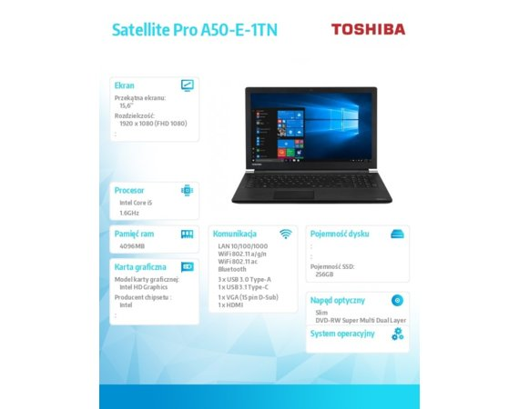 Toshiba Laptop Satellite A50-E-1TN i5-8250U, 4GB, 256GB, zintegr. 15.6 cala