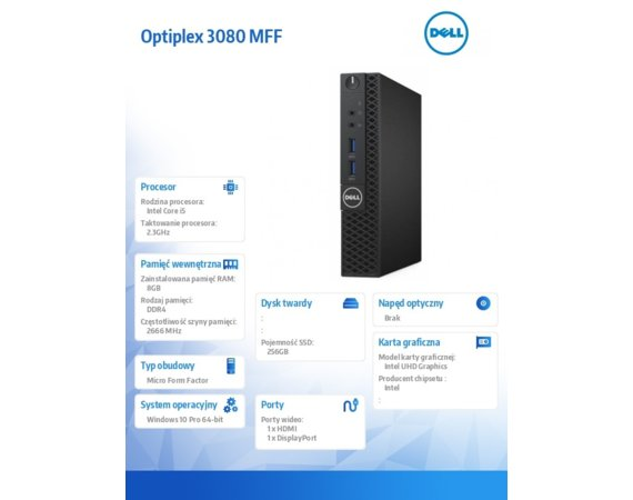 Dell Komputer Optiplex 3080 MFF/Core i5-10500T/8GB/256GB SSD/Integrated/No Optical drive/WLAN + BT/Kb/Mouse/W10Pro