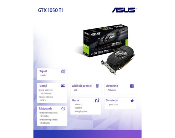Asus GeForce GTX 1050 TI 4GB 128BIT DVI/HDMI/DP