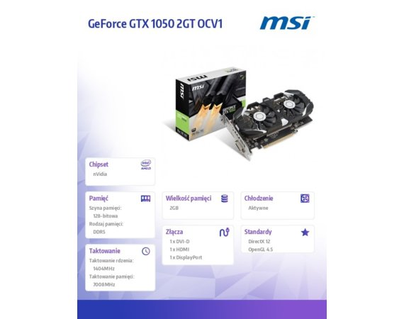 MSI GeForce GTX 1050 2GT OCV1 2GB DDR5 128BIT DVI-D/HDMI/HDCP