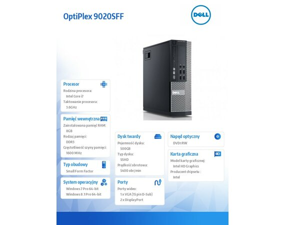 Dell OptiPlex 9020SFF Win78.1 (64-bit Win8, nosnik) i7-4790/500GB/8GB/DVDRW/HD4600/KB212-B/MS111/3Y NBD