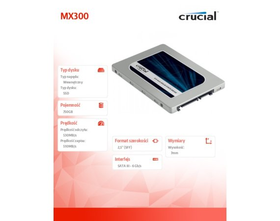 Crucial MX300 750GB 2.5' 7mm  530/510 MB/s