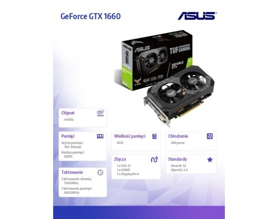 Asus Karta graficzna GeForce GTX 1660 6G GAMING 192BIT 6GB GDDR5 HDMI/DP/DVI-D