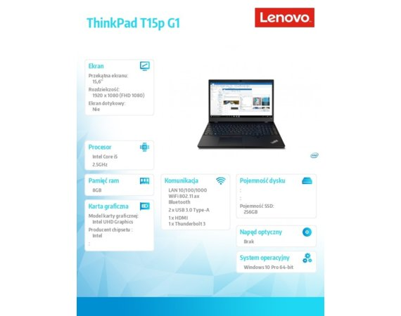 Lenovo Laptop ThinkPad T15p G1 20TN002APB W10Pro i5-10300H/8GB/256GB/INT/15.6 FHD/Black/3YRS Premier Support