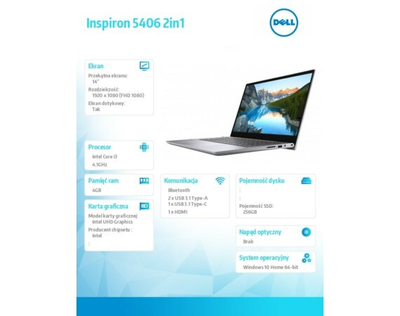 "Dell Inspiron 5406 2in1 Win10Home i3-1115G4/256GB/4GB/Intel UHD 620/14.0"" FHD/Touch/KB-Backlit/40WHR/Grey/2Y BWOS"
