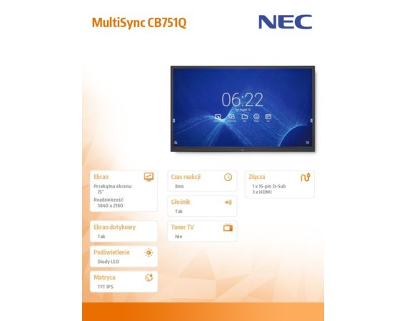 NEC Monitor 75 MultiSync CB751Q IPS 350cd/m2 3840x2160 1200:1