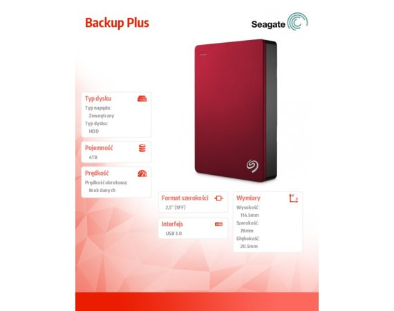 Seagate Backup Plus 4TB 2,5 STDR4000902 Red