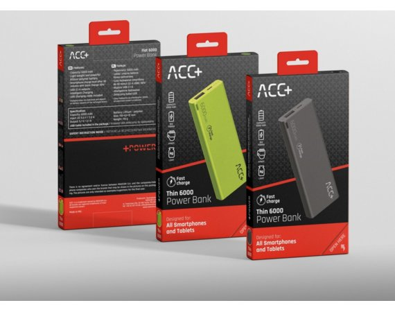 ACC+ Power Bank ACC+ THIN 6000 mAh czarny