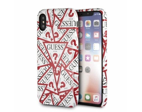 GUESS Etui hardcase GUHCPXPMPT iPhone X biały Triangle ALL OVER