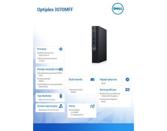 Dell Komputer Optiplex Optiplex 3070 MFF W10Pro i3-9100T/4GB/128GB SSD/Intel UHD 630/WLAN + BT/KB216 & MS116/3Y BWOS