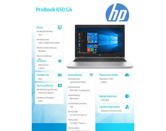 HP Inc. Laptop ProBook 650 G4 i5-8250 W10P 256/8G/DVD/15,6  3JY28EA