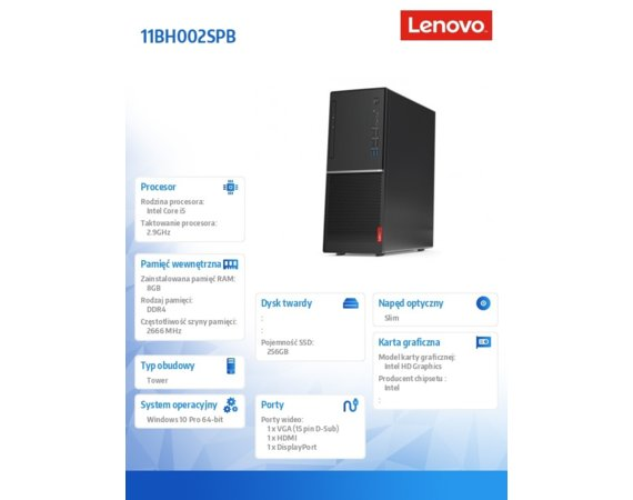 Lenovo Komputer V530 Tower 11BH002SPB W10Pro i5-9400/8GB/256GB/INT/DVD/3YRS OS