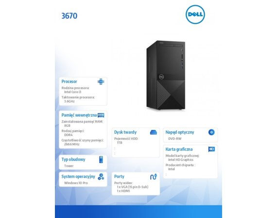 Dell Komputer Vostro 3671/Core i3-9100/8GB/1TB/Intel UHD 630/DVD RW/WLAN+BT/Kb/Mouse/W10Pro [N510VD3671BTPCEE01_R2005_22NM] 3Y BWOS