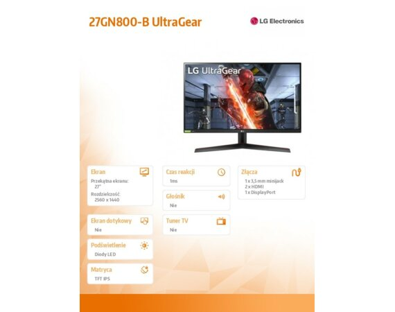 LG Electronics Monitor 27GN800-B UltraGear 27 cali IPS 1ms 144Hz HDR 10