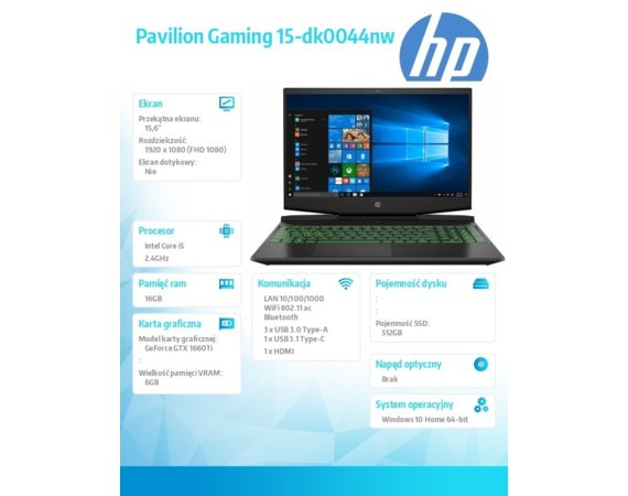 HP Inc. Notebook Pavilion Gaming 15-dk0044nw i5-9300H 512/16/W10H/15,6 9HB64EA