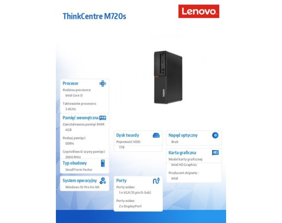 Lenovo Desktop ThinkCentre M720s SFF 10ST002XPB W10Pro i3-8100/4GB/1TB/INT/WiFi+BT/3YRS OS