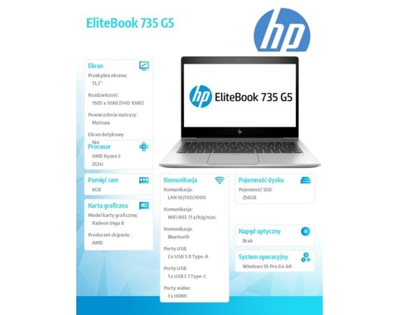 HP Inc. Laptop EliteBook 735 G5 R5-2500U W10P 256/8G/13,3 3UP47EA