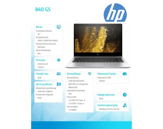 HP Inc. 840 G5 i5-8250U W10P 256/8GB/14'      3JX01EA