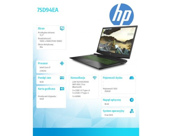 HP Inc. Notebook Pavilion Gaming 17-cd0028nw i7-9750H 256/8G/DOS/17,3/144Hz 7SD94EA