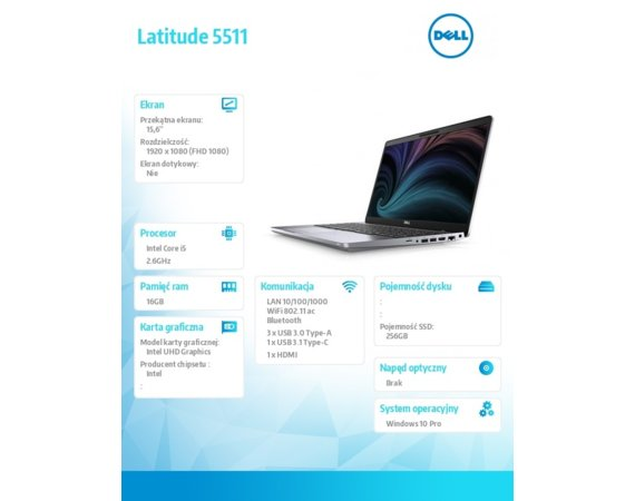 Dell Notebook Latitude 5511 i5-10400H/16GB/SSD256GB/15.6 FHD/UHD/FPR/SCR/Backlit Kb/4 Cell/W10Pro/3Y BWOS