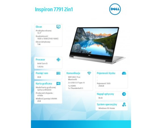Dell Notebook Inspiron 7791 2in1 W10H i5-10210U/256/8/NV/Silver/2Y