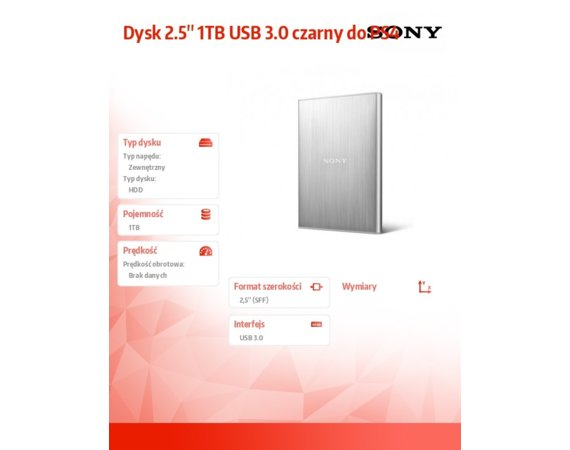 Sony Dysk 2.5'' 1TB USB 3.0 czarny do PS4