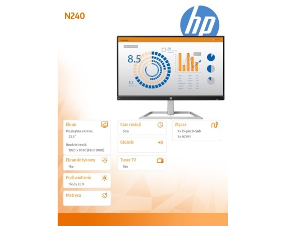 HP Inc. Monitor 23.8 N240 3ML21AA