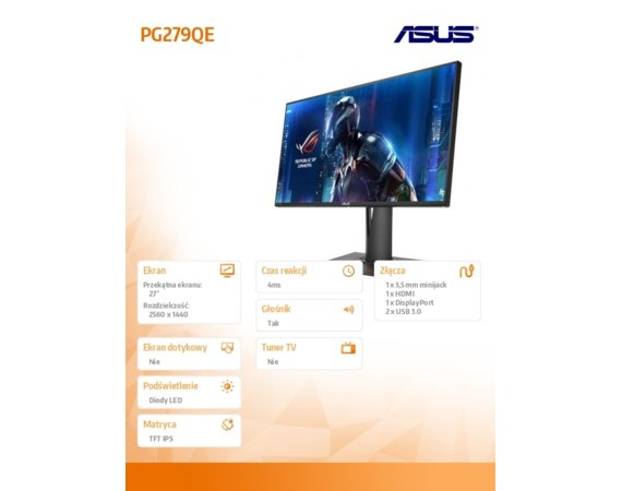 Asus Monitor 27 cali LED PG279QE
