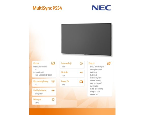 NEC Monitor 55 MultiSync P554 LED 700cd/m2