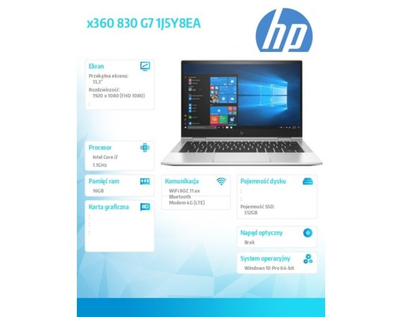 HP Inc. Notebook x360 830G7 i7-10710U 512/16/13,3/W10P 1J5Y7EA