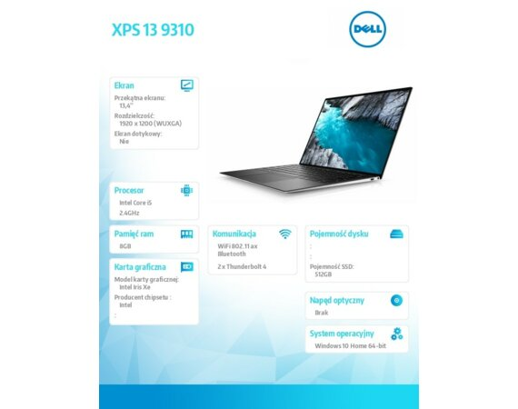 "Dell XPS 9310 Win 10 Home i7-1185G7/512GB/16GB/Intel Iris XE/13.4"" FHD+/KB-Backlit/4-cell/Silver/2Y BWOS"