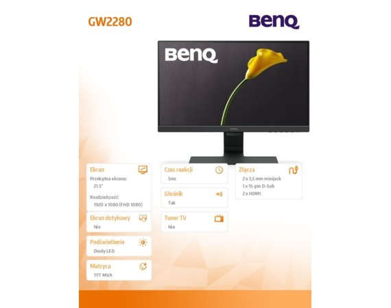 Benq Monitor 22 GW2280 LED 5ms/MVA/20mln:1