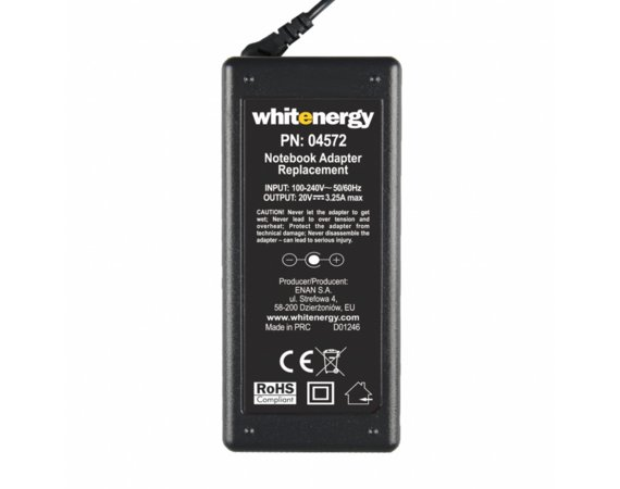 Whitenergy Zasilacz 20V | 3.25A 65W wtyk 7.9*5.5mm + pin IBM  04572
