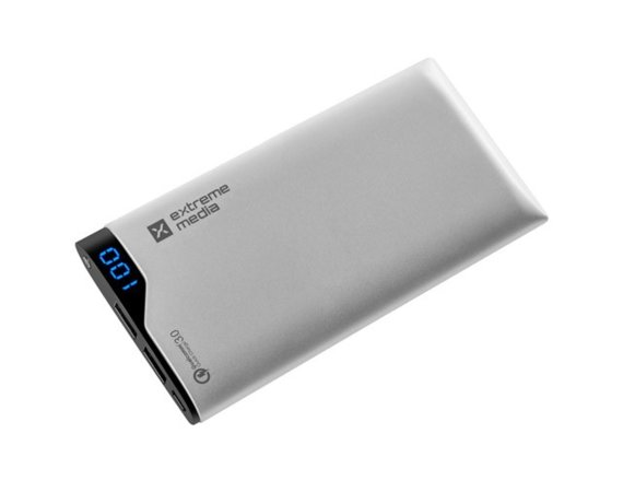 NATEC Power Bank EXTREME MEDIA 10000mAh QC-100 SILVER Qualcomm Quick   Charge 3.0