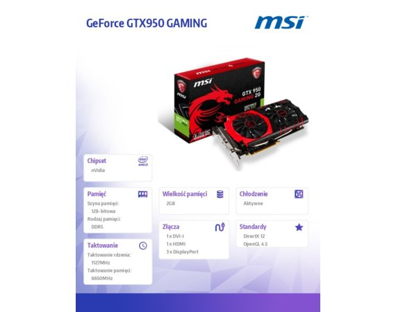 MSI GeForce CUDA GTX950 GAMING 2GB DDR5 PCI-E 128BIT DVI/HDMI/3DP