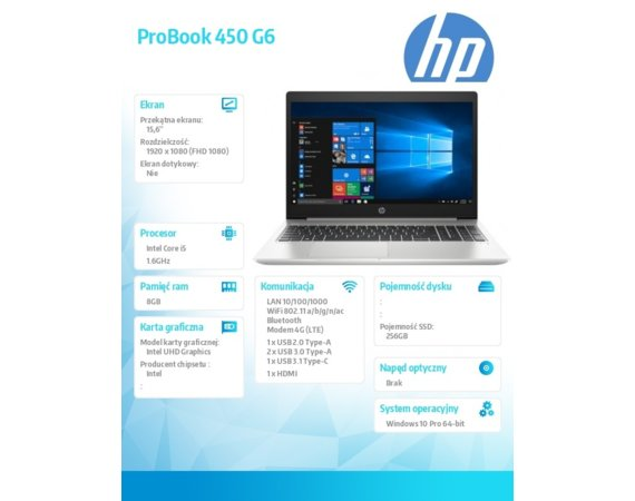 HP Inc. Notebook ProBook 450 G6 i5-8265U W10P 256/8G/15,6      5TJ96EA